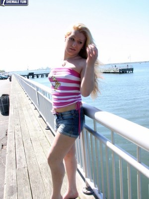 Tastey Golden-haired Tgirl Flaunts Her Well Girthed Lady Monster