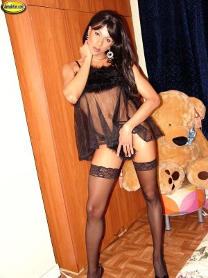 Well hung latin babe shemale gets rock intense and widens
