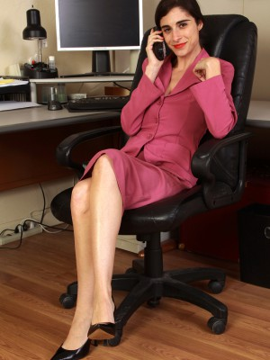 33 year old office assistant Abbey widening wide in her office chair