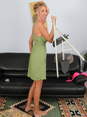 Blond Brynn Hunter from AllOver30 violates from her chores