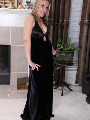33 year old Opportunity from AllOver30 slides out of her elegant ebony dress