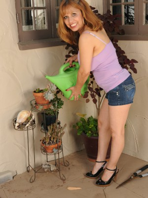Perverse  47 year old Marissa from AllOver30 doing a little bare gardening