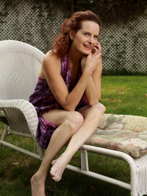 Redheaded 49 year aged Gloria M takes it all off plus widens outdoors