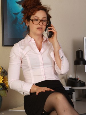 Red headed Fiona from AllOver30 receives excited throughout a telephone call
