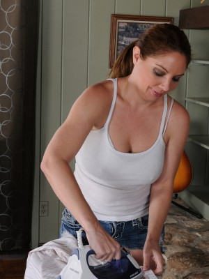 39 yr old abd huge-boobed Kiki D'Aire slides down her jeans cut-offs obtainable