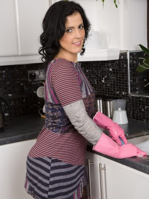36 yr old brunette hair Montse Swapper makes prefer to a large banana