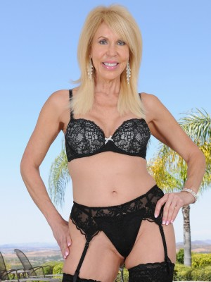 Charming 60 yr old Erica Lauren from AllOver30 posing in thong