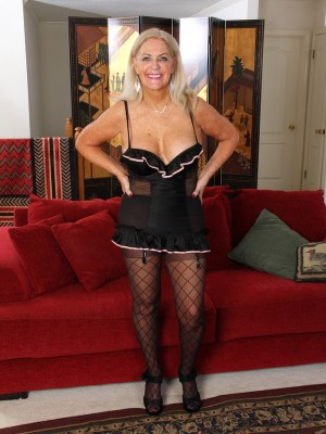 Blond 58 yr old Judy Mayflower afrom AllOver30 loving her toy