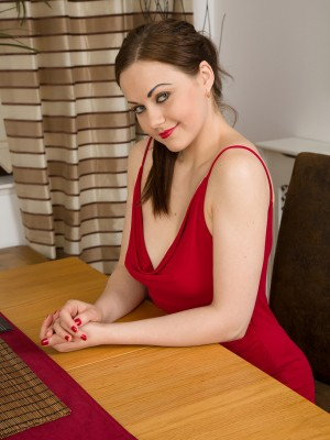 Lewd Tina Kay and the woman guy have it on after dinner on table