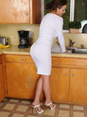 Stunning breasty Tina Kay gets all wet doing dishes and taunting