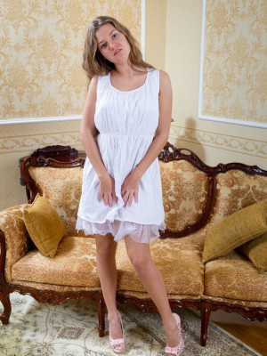 Hairy girl Fina disrobes from her magnificent white dress