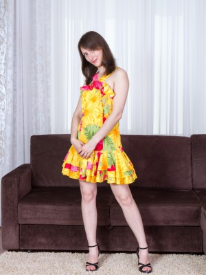 Hairy damsel Mary undresses off her yellow dress