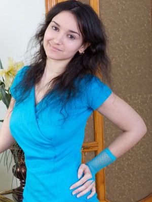 In blue, Ramira undresses inside nylons plus gets nude