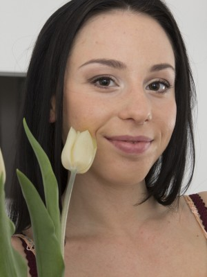 Anissa plays with blossoms and really loves them all erotic dancing