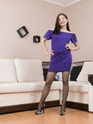 Bellavitana pieces off purple dress and tights