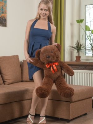 Darina Nikitina unclothes and masturbates with a gear