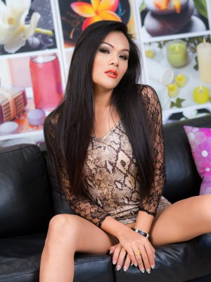 Ladyboy on leopard print