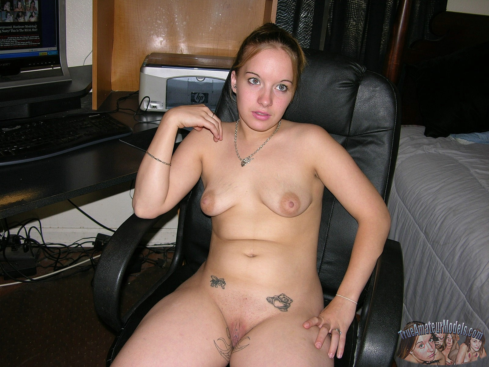 nude milf in office