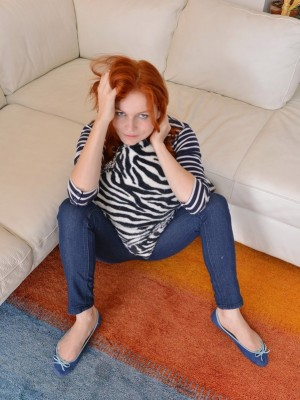 All Congenital Redheaded Gal Stretches Her Fur covered Pubic hair Broad