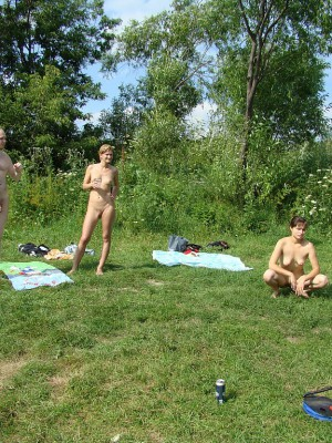 Naked persons having a lot of fun