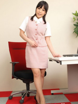 exposes beautiful gams while performing company duties