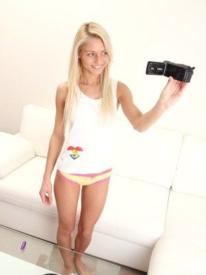 Blond babe documenting her filthy teen sex practices