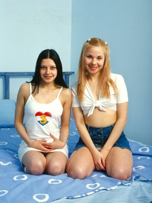 Two concupiscent legal age teenager lesbian girls experimenting on each other