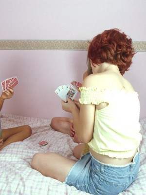 Lascivious lezzie teens sitting on cunt satisfying toys
