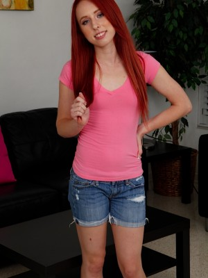 Small titted redhead teenage Sofie Carter fingers twat.