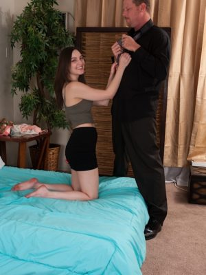 Brunette hair coed Pepper XO railing him switch sides cowgirl.