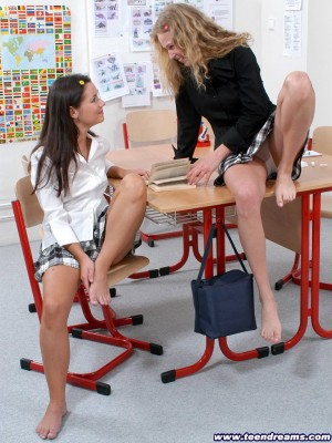2 nasty angels get it on in the classroom