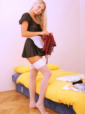See as the female servant gets wicked at work