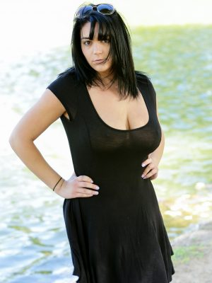Busty milf being naughty outside